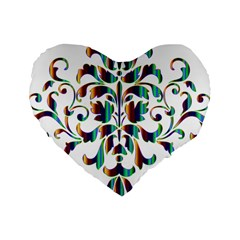 Damask Decorative Ornamental Standard 16  Premium Flano Heart Shape Cushions