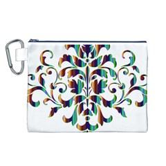 Damask Decorative Ornamental Canvas Cosmetic Bag (L)