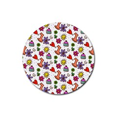 Doodle Pattern Rubber Round Coaster (4 pack)