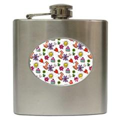 Doodle Pattern Hip Flask (6 oz)