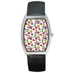 Doodle Pattern Barrel Style Metal Watch