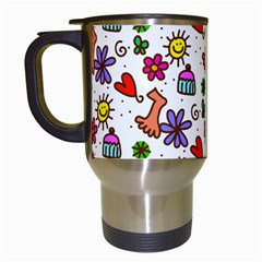 Doodle Pattern Travel Mugs (White)