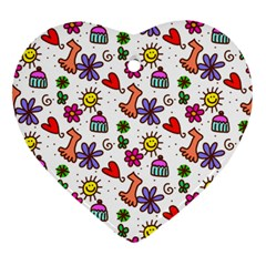 Doodle Pattern Heart Ornament (Two Sides)