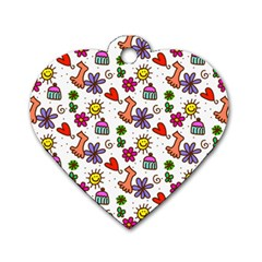 Doodle Pattern Dog Tag Heart (Two Sides)