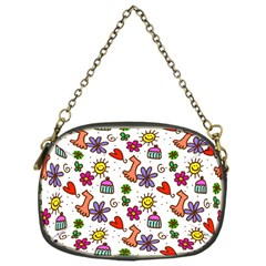 Doodle Pattern Chain Purses (One Side)
