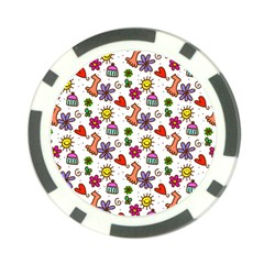Doodle Pattern Poker Chip Card Guard (10 pack)