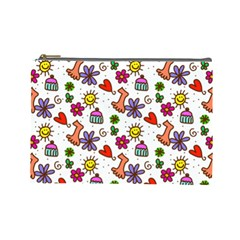 Doodle Pattern Cosmetic Bag (Large)