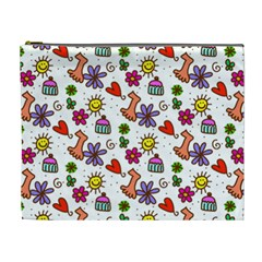 Doodle Pattern Cosmetic Bag (XL)