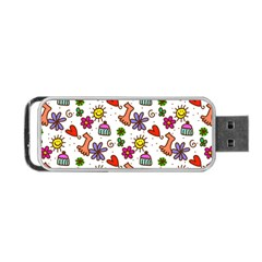 Doodle Pattern Portable Usb Flash (one Side)