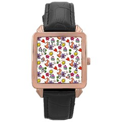 Doodle Pattern Rose Gold Leather Watch