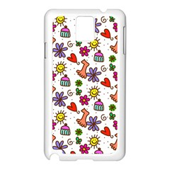 Doodle Pattern Samsung Galaxy Note 3 N9005 Case (White)