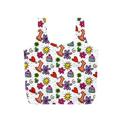 Doodle Pattern Full Print Recycle Bags (S)
