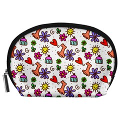 Doodle Pattern Accessory Pouches (large)