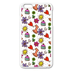 Doodle Pattern Apple iPhone 6 Plus/6S Plus Enamel White Case