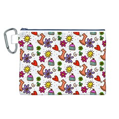 Doodle Pattern Canvas Cosmetic Bag (L)