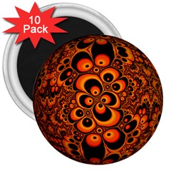 Fractals Ball About Abstract 3  Magnets (10 pack)