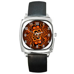 Fractals Ball About Abstract Square Metal Watch