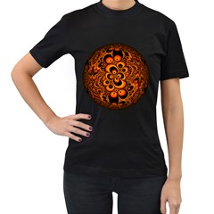 Fractals Ball About Abstract Women s T-Shirt (Black) (Two Sided)