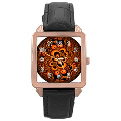Fractals Ball About Abstract Rose Gold Leather Watch
