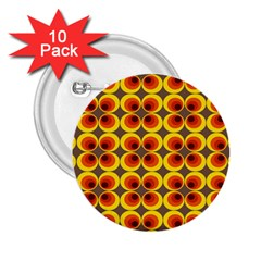 Seventies Hippie Psychedelic Circle 2.25  Buttons (10 pack)