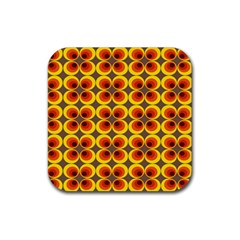 Seventies Hippie Psychedelic Circle Rubber Square Coaster (4 Pack)
