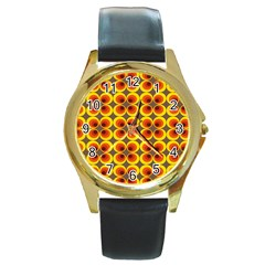 Seventies Hippie Psychedelic Circle Round Gold Metal Watch