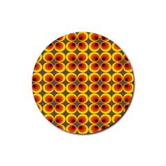 Seventies Hippie Psychedelic Circle Rubber Round Coaster (4 pack)
