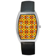 Seventies Hippie Psychedelic Circle Barrel Style Metal Watch