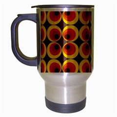 Seventies Hippie Psychedelic Circle Travel Mug (Silver Gray)