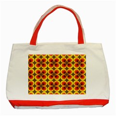 Seventies Hippie Psychedelic Circle Classic Tote Bag (Red)