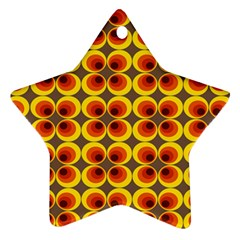 Seventies Hippie Psychedelic Circle Star Ornament (two Sides)