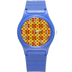 Seventies Hippie Psychedelic Circle Round Plastic Sport Watch (S)