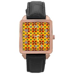 Seventies Hippie Psychedelic Circle Rose Gold Leather Watch