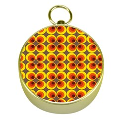 Seventies Hippie Psychedelic Circle Gold Compasses