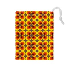 Seventies Hippie Psychedelic Circle Drawstring Pouches (Large)