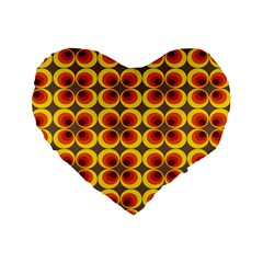 Seventies Hippie Psychedelic Circle Standard 16  Premium Flano Heart Shape Cushions