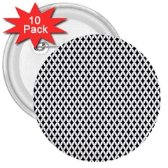 Diamond Black White Shape Abstract 3  Buttons (10 pack)