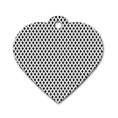 Diamond Black White Shape Abstract Dog Tag Heart (Two Sides)