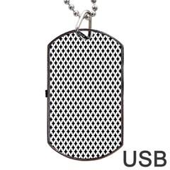 Diamond Black White Shape Abstract Dog Tag USB Flash (One Side)