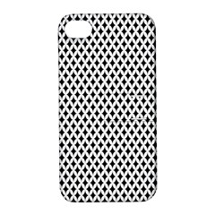 Diamond Black White Shape Abstract Apple iPhone 4/4S Hardshell Case with Stand