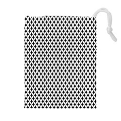 Diamond Black White Shape Abstract Drawstring Pouches (Extra Large)