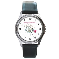 Valentine Day Poster Round Metal Watch