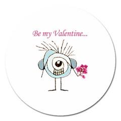 Valentine Day Poster Magnet 5  (Round)