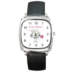 Valentine Day Poster Square Metal Watch