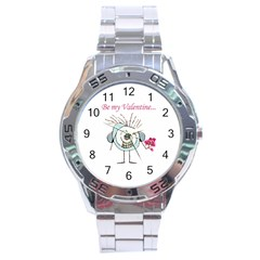 Valentine Day Poster Stainless Steel Analogue Watch