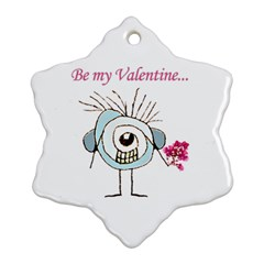 Valentine Day Poster Snowflake Ornament (Two Sides)