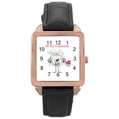 Valentine Day Poster Rose Gold Leather Watch