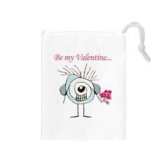 Valentine Day Poster Drawstring Pouches (Medium)