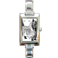 Cairn Terrier Greyscale Art Rectangle Italian Charm Watch