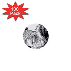 Cairn Terrier Greyscale Art 1  Mini Buttons (100 pack)